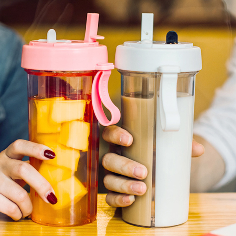 Cup Drinking-Bottle Handle Dual-Use Two-Straws Outdoor Sport Creative Leak-Proof Travel