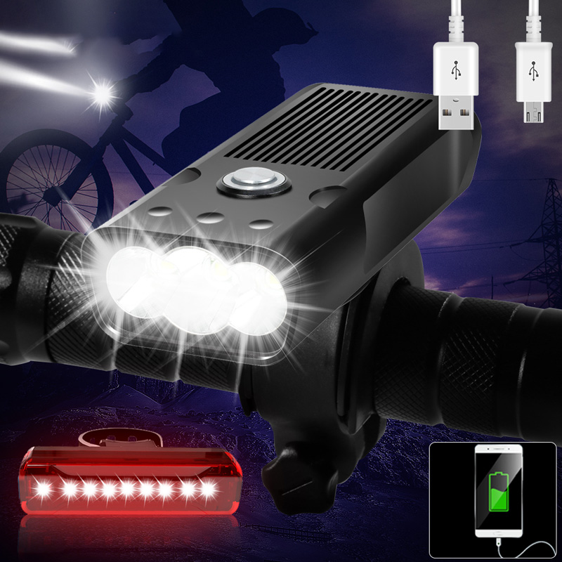 20000Lums Bicycle Light L2 T6 USB Rechargeable 5200mAh Bike Light IPX5 Waterproof LED Headlight as Power Bank Bike Accessories