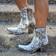 Bling White Snake Print Black Leather Cowboy Boots for Women Heel Western Cowgirl 2019 Autumn Winter