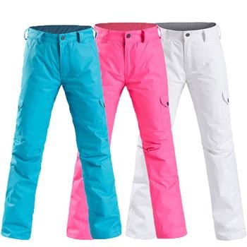 New female ski pants waterproof padded cold warm veneer double board professional women snow pants