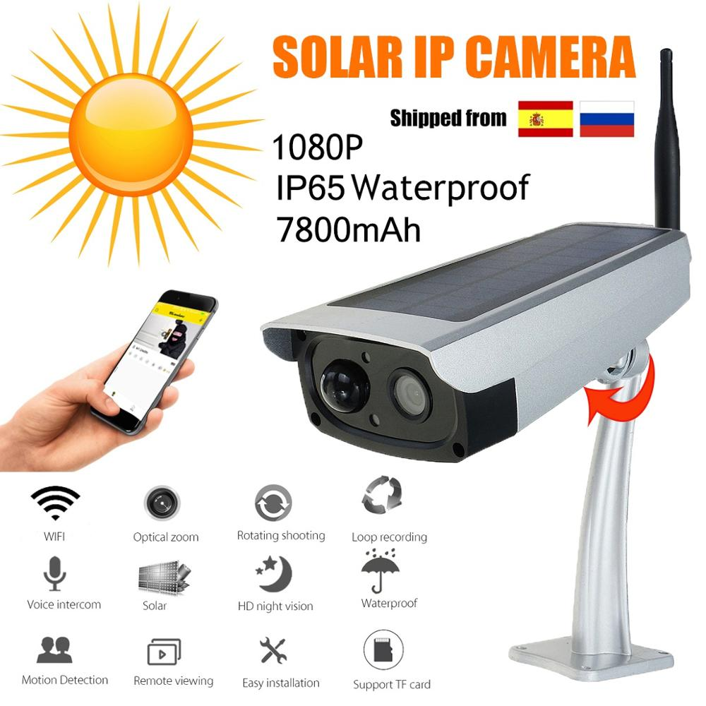 HD 1080P Solar WiFi IR Bulllet  IP Camera Outdoor  IR  Audio PIR Alarm CCTV Batterij Camera