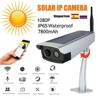 HD 1080P Solar WiFi IR Bulllet IP Camera Outdoor IR Audio PIR Alarm CCTV Batterij camera