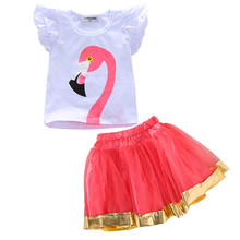 1-4Y 2PCS Toddler Kids Girl Clothes Set Summer Short Sleeve Flamingo T-shirt Tops + Red Tutu Skirt Outfit Child Suit 2018 brand new toddler infant child kids baby girl outfit clothes jeans denim shirt bow tutu tulle skirt 2pcs sets clothes 1 6t