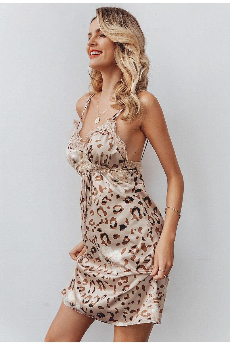 Elegant V-Neck Leopard Sleeveless Backless Mini Dress 5