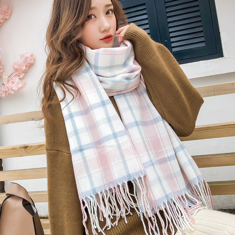 Autumn And Winter New Versitile Fashion Faux Cashmere Plaid Scarf Men And Women Long Japanese-style Warm Plaid Decoration Shawl