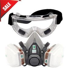 7 w 1 6200 pyłu maska gazowa z okulary ochronne pół twarzy Respirator do malowania natrysk opary organiczne gazu podwójne filtry w Maski od Bezpieczeństwo i ochrona na