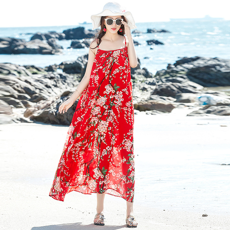 Floral-Print Chiffon Large Size Slimming In Strapped Dress Bohemian Seaside Holiday Long Skirts Beach Skirt