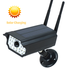 Sahte kukla kamera açık su geçirmez ev kamerası güneş enerjisi simülasyon kamera ile LED ışık güvenlik gözetleme