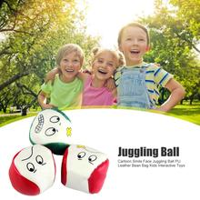 Hot Sale Juggling Ball Delicate Design Cartoon Smile Face PU Leather Juggling Ball Bean Bag Children Interactive Toys