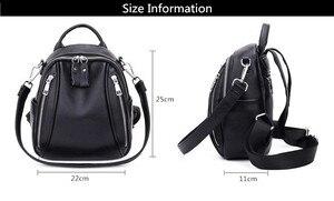 Image 5 - Fengdong mulher mini saco de couro genuíno mochila anti roubo preto pequeno bolsa de ombro de couro feminino mochila viagem menina backbag