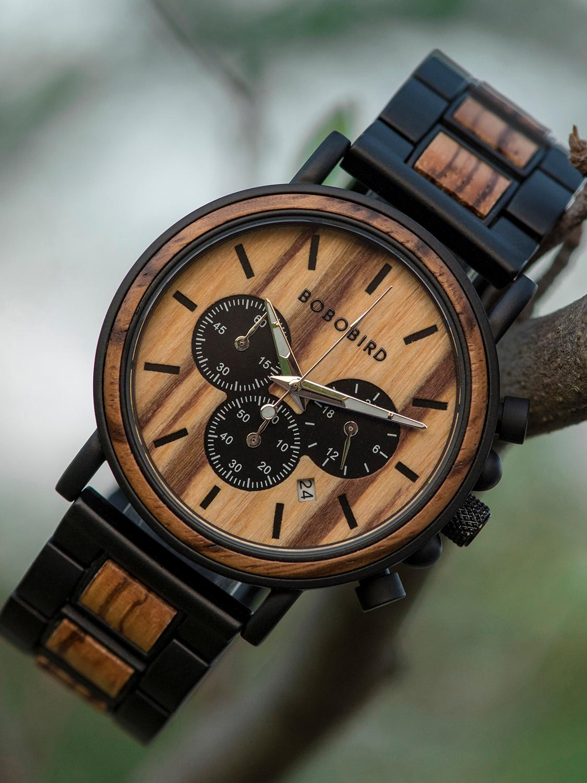 Wooden Watch Chronograph Timepieces Bobo Bird Military Luxury Stylish Gift-Box Erkek