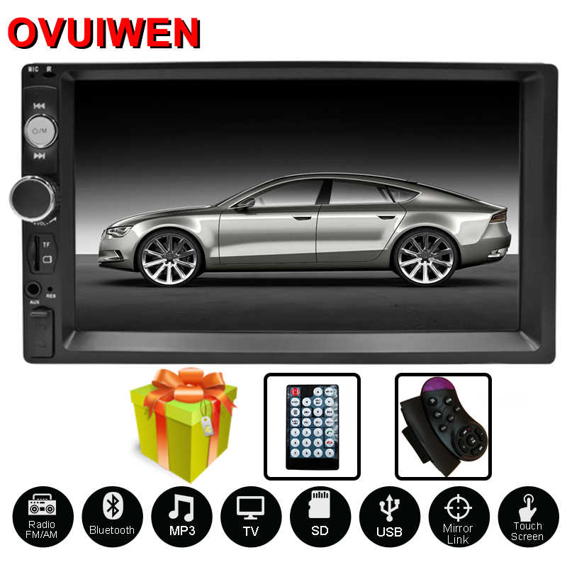 "Radio de coche autorradio 7 ""reproductor Multimedia HD 2 DIN pantalla táctil audio de coche estéreo MP5 Bluetooth USB TF FM cámara doble Din"