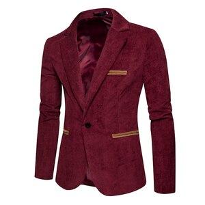 Image 3 - חדש סתיו גברים מזדמן חליפת מעיל גברים מוצק צבע קורדרוי צמר בד חליפת טרייל כיס כפתור לקשט גברים של חליפה מעיל