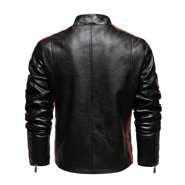 Aliksada Men Autumn Winter New Fashion Motor Biker Leather Jackets Coat Men Vintage Style Patchwork PU Faux Leather Jackets Men 5