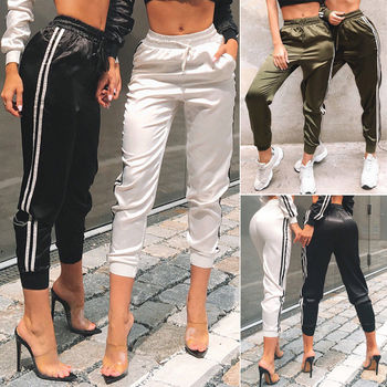 Hirigin Brand Jogger Long Pants 2019 New Womens Fitness Leggings Sport High Waist Side Striped Jogging Pants Trousers Streetpant image