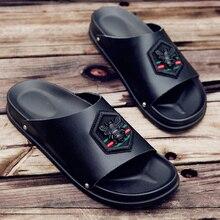 Zapatillas casuales de cuero para hombre, zapatos planos cómodos para caminar, calzado de playa para hombre, zapatillas de Ducha