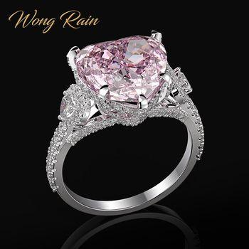 Wong Rain Romantic 100% 925 Sterling Silver Heart Pink Sapphire Gemstone Wedding Engagement Diamonds Ring Fine Jewelry Wholesale