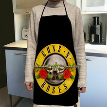 Custom Guns N 'Roses Kitchen Apron Dinner Party Cooking Apron Adult Baking Accessories Waterproof Fabric Printed Cleaning Tools