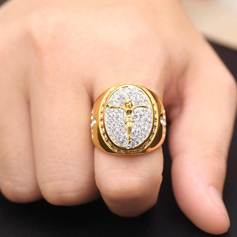 พระเยซู Cross Men Signet Ring เงินทองสีไทเทเนียมสแตนเลสชายแหวน Punk Hip Hip ผู้หญิง DCR108