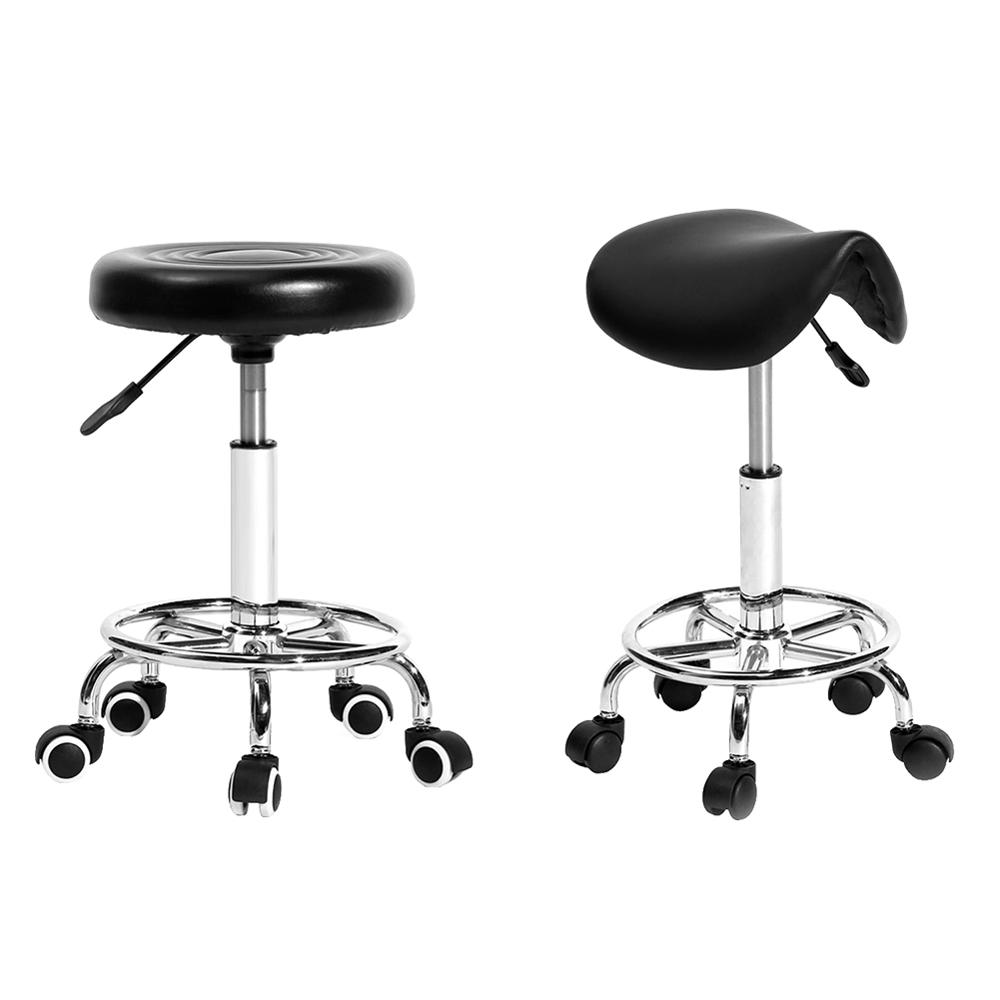 Adjustable Work Rotating Saddle/Round Chair 5 Rolls Leather Lift Bar Swivel Stool For Home Office Rotating Bar Chair Accessories