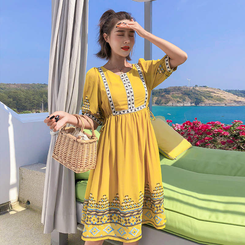 Yellow Dress Seaside Holiday Ethnic-Style Embroidered Chiffon Skirt Thailand Industrial Embroidery Beach Skirt