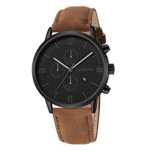 Часы мужские кварцевые аналоговые, люксовые модные, с изображением синего излучения из искусственной кожи, с подарком для мужчин