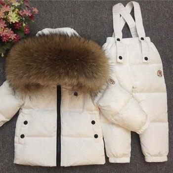Детский пуховой костюм для девочек на русскую зиму, теплые зимние костюмы для мальчиков, куртка на утином пуху + комбинезон, комплект одежды