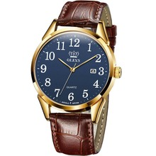 Mens Watches OLEVS Easy-Reader Leather-Band Quartz Casual Fashion Simple with Brown Gold