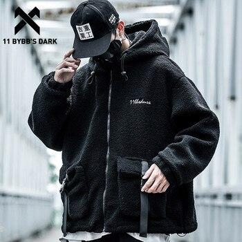 11 BYBB'S DARK Big Pockets Ribbons Lambswool Hooded Jackets Men Harajuku Streetwear Hip Hop Jacket Coat Cotton Male Overcoats