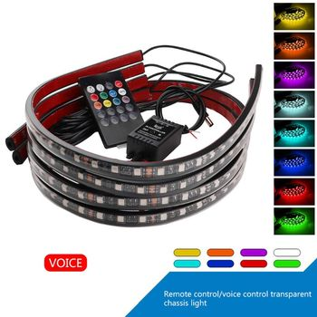 4Pcs Car Underglow Flexible Strip LED Remote Control RGB Decorative Atmosphere Lamp Underglow Underbody Neon Light image