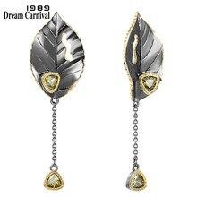 DreamCarnival1989 eleganckie frędzle kolczyki dla kobiet duże liście przyjęcie zaręczynowe gotycka biżuteria trójkąt Olivine cyrkon WE3994GR