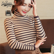 Womens sweaters 2019 winter sweater ladies tops for women Turtleneck sweater Pullovers Computer Knitted Striped korean 6354 90(China)