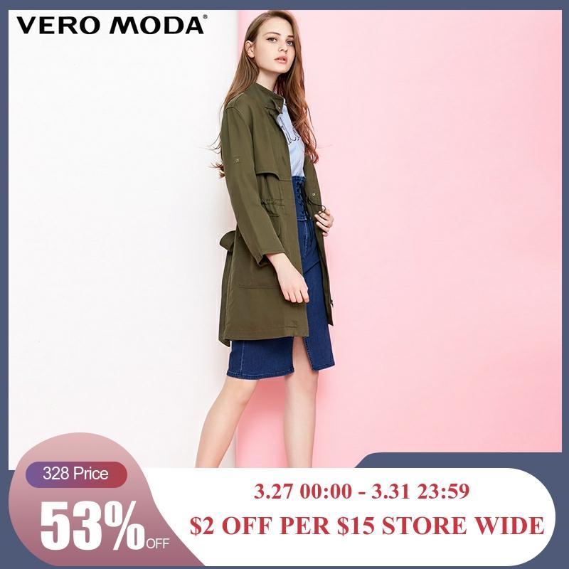 Vero Moda Women's Drawstring Cinched Waist Medium Length Trench Coat   318321543