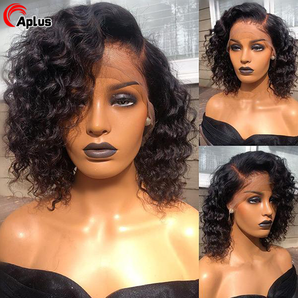 Short Kinky Curly Bob Lace Front Wig Mongolian Remy Human Hair Wigs For Women 13x4 13x6 360 Swiss Lace Frontal Wig 150% Density