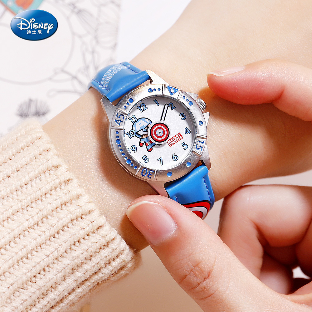 Disney Children's Quartz Watch Boy Watch And Gift Cute Trend Personality Mavel Kids Watch Water Resistant Alloy Leather 3Bar