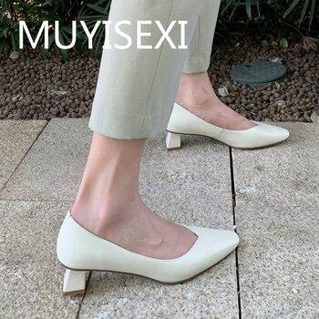 Full genuine leather square toe unique 4cm high heels women pumps slip on elegant dating autumn spring shoes HYA05 MUYISEXI