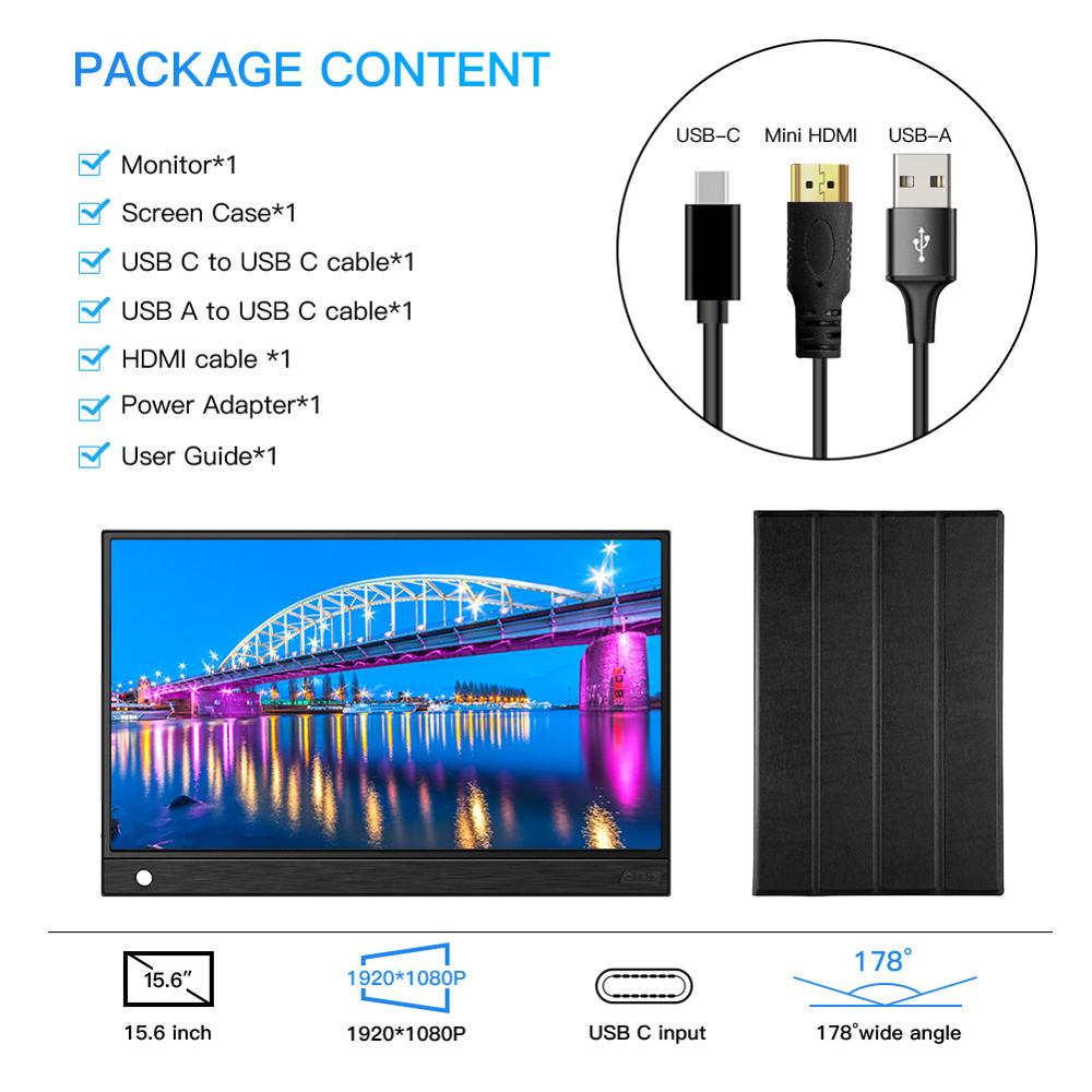 Image 4 - Eyoyo EM15K HDMI USB Type C Portable Monitor 1920x1080 FHD HDR IPS 15.6 inch Display LED Moniteur for PC PS4 Xbox Phone LaptopLCD Monitors   -