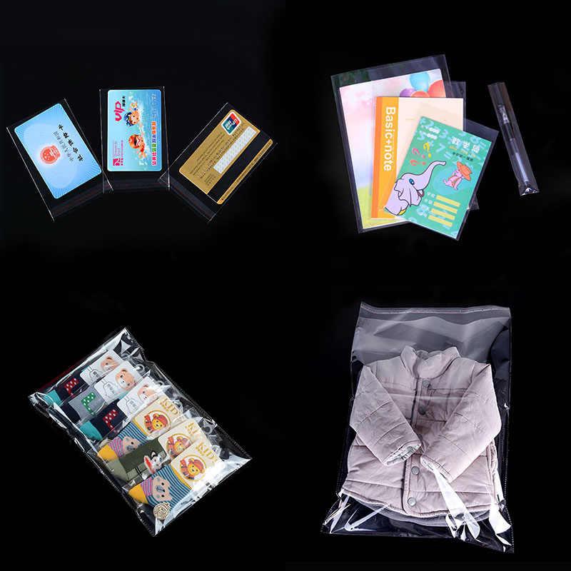 100 Pcs Bening Diri Perekat Kantong Plastik Transparan Plastik Self-Perekat Tas untuk Perhiasan Hadiah Permen Kue Kemasan Kantong