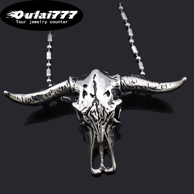 oulai777 2019 stainless silver steel bull head mens necklaces & pendants men accessories personalized punk pendant necklace