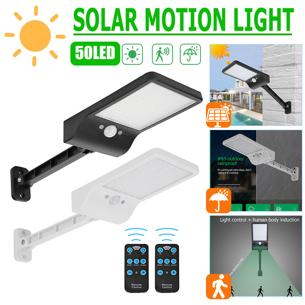 1000lm 50LED Solar Wall Lamp PIR Motion Sensor Street Path Light w Remote Control Outdoor Waterproof Solar Garden Lights