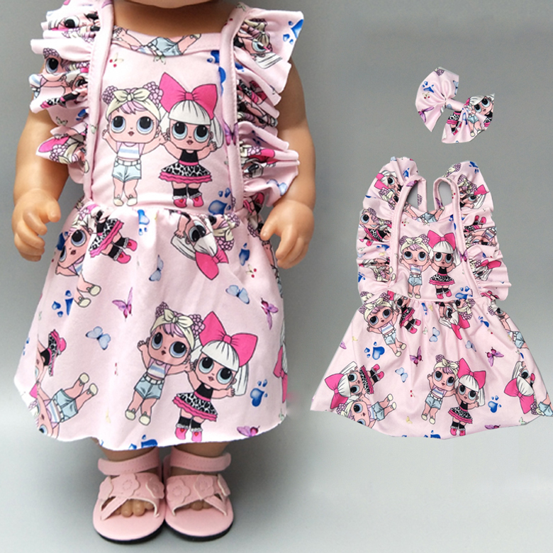 Doll dress with bow for 18 inch girl doll clothes baby pink