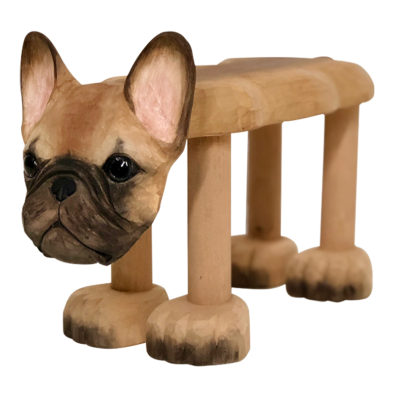 Hand-Carved Solid Wood Stool For Baby Ornaments Animal Dog Bulldog Shaped Wood Chair for Kids 1-3 Years