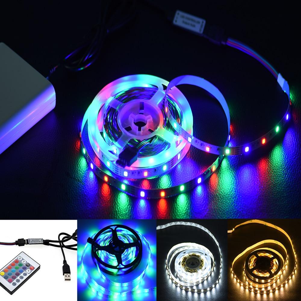 Тира de luces светодиодный USB 2835SMD DC5V гибкие, cinta de lámpara светодиодный RGB 0,5 м, 1 м, 2 м, 3 м, 4 м, 5 м, cinta de diodo de retroiluminación p
