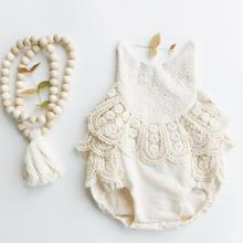 Neue Neugeborenen Mädchen Rüschen Spitze Backless Overall Baby Romper Sommer Kleidung