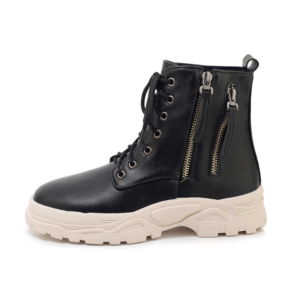 Women/'s Chunky Low Heel Ankle Boots Combat Biker Lace Ups Shoes Large Size 34-46