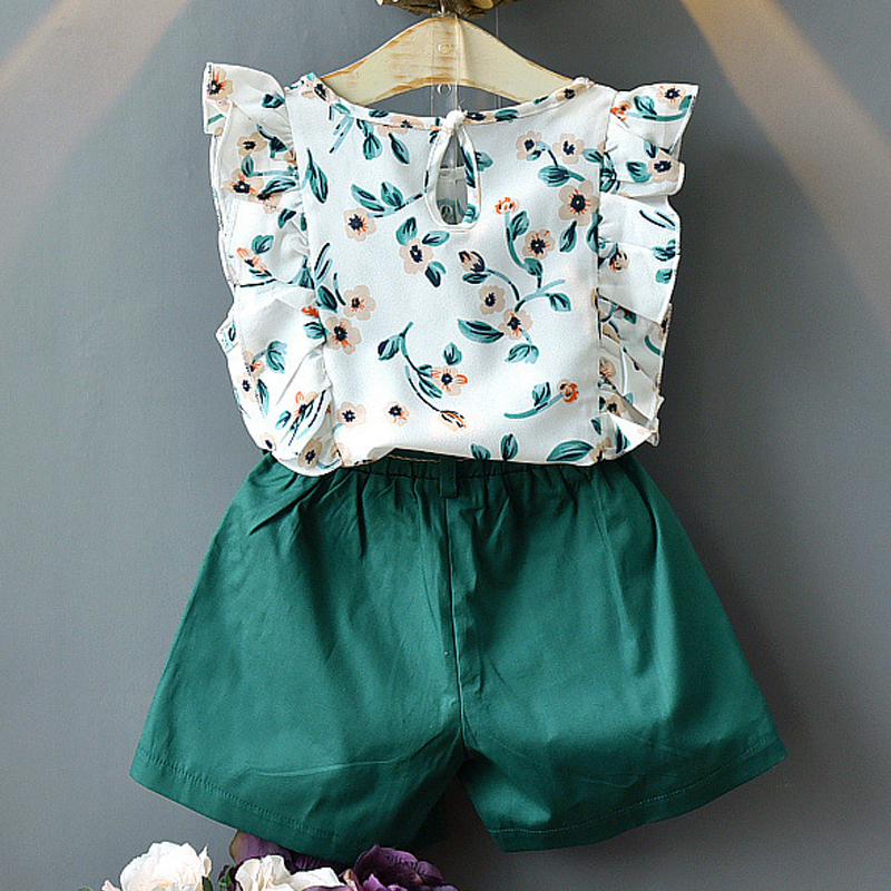 H6090b43173614244b6de1735c7b6612aF Menoea Girls Suits 2020 Summer Style Kids Beautiful Floral Flower Sleeve Children O-neck Clothing Shorts Suit 2Pcs Clothes