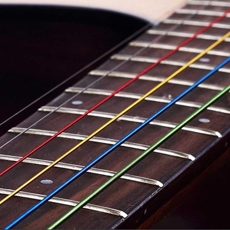 Купить с кэшбэком 6Pcs/Set Acoustic Guitar Strings Rainbow Colorful Guitar Strings E-A For Acoustic Folk Guitar Classic Guitar Multi Color