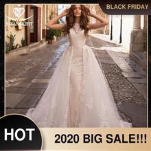 Trem destacável vestido de casamento 2020 sexy 2 em 1 sereia swanskirt apliques renda cinto de cristal vestido de noiva noiva lz07