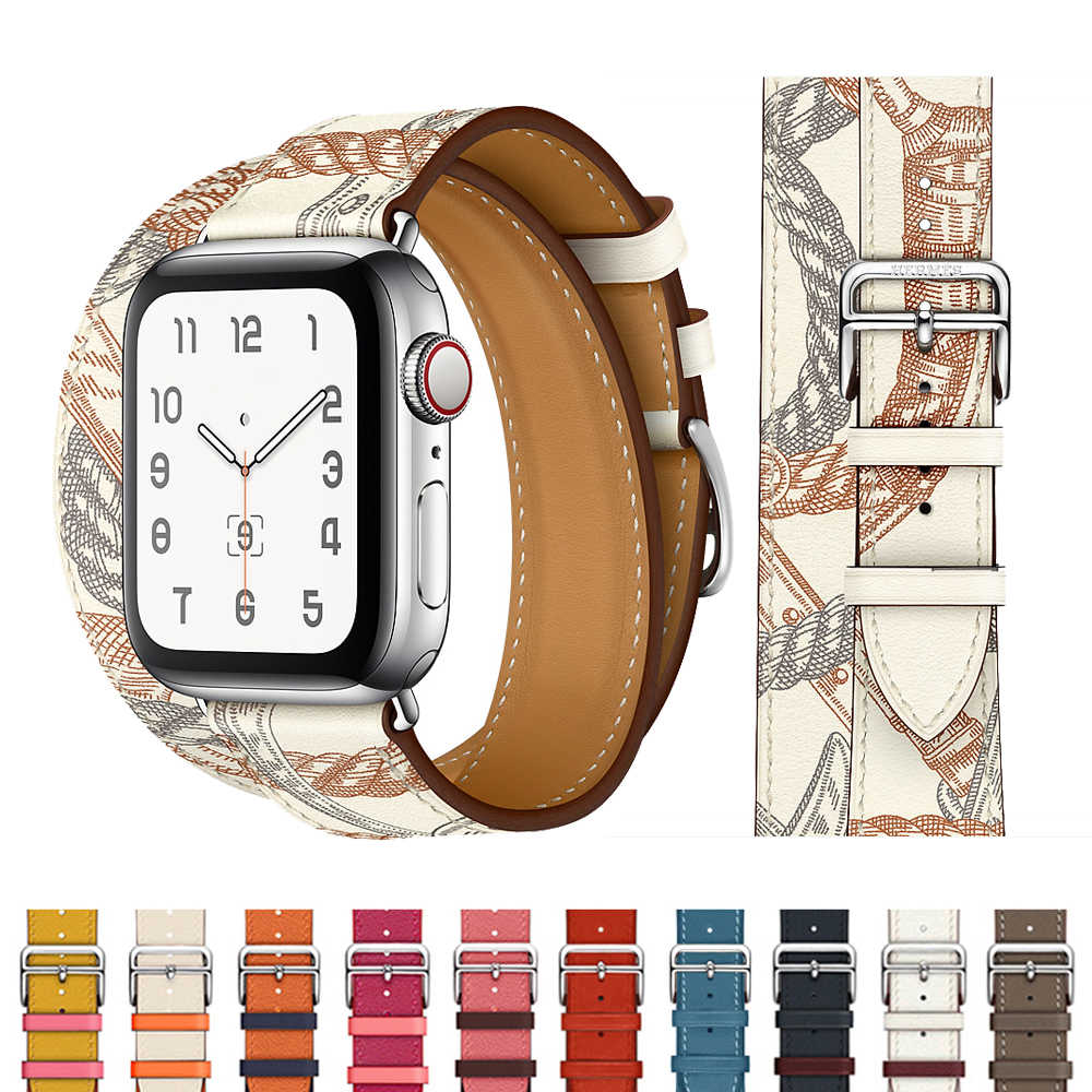 Kayış apple saat bandı 44 mm 40mm deri döngü iwatch bileklik 42mm 38mm çift tur bilezik watchband apple watch 5 4 3