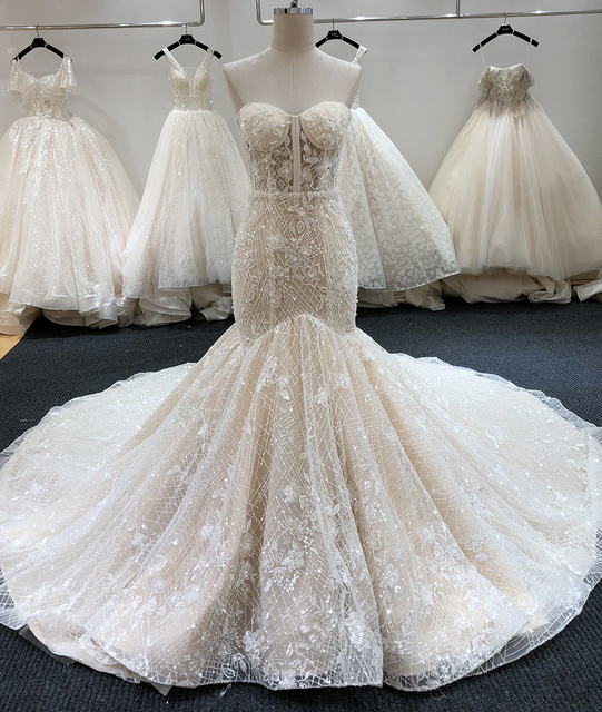 SL-6229 New Arrival Crystal Bling Bling Mermaid Wedding Dresses 2020 Full Beading Bridal Wedding Gowns 1